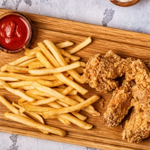 Chicken tenders and fries.